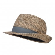 Men's Paper Braid Band Fedora - Grey Tan