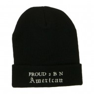 Pround 2 B N American Embroidered Beanie - Black
