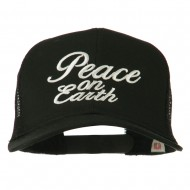 Peace on Earth Embroidered Twill Mesh Cap - Black