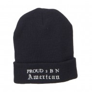 Pround 2 B N American Embroidered Beanie - Navy