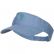 Palm Tree Embroidered Cotton Washed Visor - Lt Blue