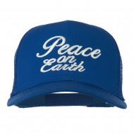Peace on Earth Embroidered Twill Mesh Cap - Royal