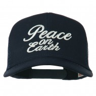 Peace on Earth Embroidered Twill Mesh Cap - Navy
