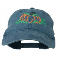Pumpkin Outline Embroidered Washed Cap - Navy