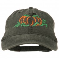 Pumpkin Outline Embroidered Washed Cap - Black
