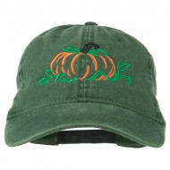 Pumpkin Outline Embroidered Washed Cap - Dark Green