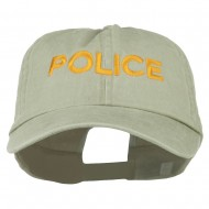 Police Letter Embroidered Big Size Washed Cap - Putty
