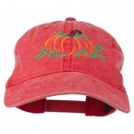 Pumpkin Outline Embroidered Washed Cap - Red