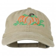 Pumpkin Outline Embroidered Washed Cap - Khaki