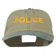 Police Letter Embroidered Big Size Washed Cap - Khaki Navy