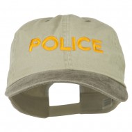 Police Letter Embroidered Big Size Washed Cap - Putty Brown