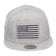 Grey American Flag Patched Wool Blend Snapback - Heather Grey