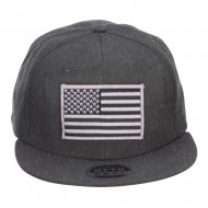 Grey American Flag Patched Wool Blend Snapback - Heather Black