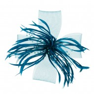 Bead Detail with Feathers and Netting Fascinator - Blue