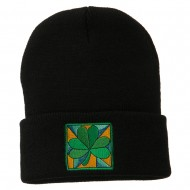 St Patrick's Day Clover Embroidered Long Beanie - Black