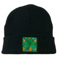 St Patrick's Day Clover Embroidered Long Beanie - Navy