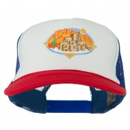 Pueblo Communities Embroidered Foam Mesh Back Cap - Red White Royal