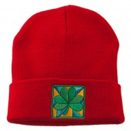 St Patrick's Day Clover Embroidered Long Beanie - Red