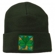 St Patrick's Day Clover Embroidered Long Beanie - Green