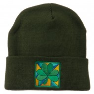 St Patrick's Day Clover Embroidered Long Beanie - Olive