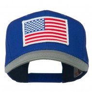 White American Flag Patched Cotton Twill Cap - Grey Royal