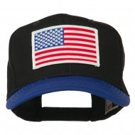 White American Flag Patched Cotton Twill Cap - Royal Black