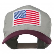 White American Flag Patched Cotton Twill Cap - Maroon Grey