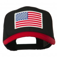 White American Flag Patched Cotton Twill Cap - Red Black