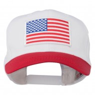 White American Flag Patched Cotton Twill Cap - Red White