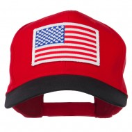 White American Flag Patched Cotton Twill Cap - Black Red