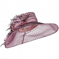 Polka Dot Designed Flower Detailed Organza Hat - Pink