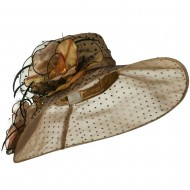 Polka Dot Designed Flower Detailed Organza Hat - Brown