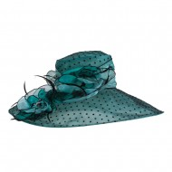 Polka Dot Designed Flower Detailed Organza Hat - Mint