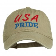 USA Pride Embroidered Washed Cap - Khaki