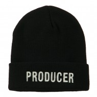 Producer Embroidered Long Beanie - Black