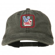 USA Peace Hand Embroidered Washed Cap - Black