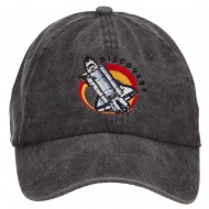 Space Shuttle Discovery Embroidered Washed Cap - Black