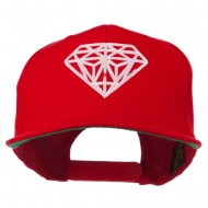 Pink Diamond Outline Embroidered Snapback Cap - Red