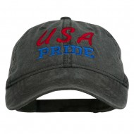 USA Pride Embroidered Washed Cap - Black