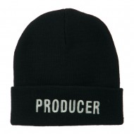 Producer Embroidered Long Beanie - Navy