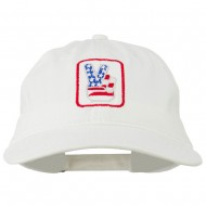 USA Peace Hand Embroidered Washed Cap - White