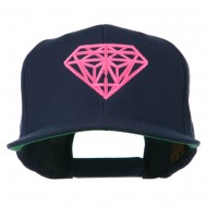 Pink Diamond Outline Embroidered Snapback Cap - Navy