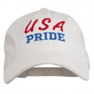USA Pride Embroidered Washed Cap - White