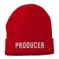 Producer Embroidered Long Beanie - Red