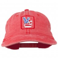 USA Peace Hand Embroidered Washed Cap - Red