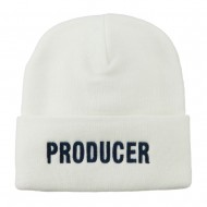 Producer Embroidered Long Beanie - White