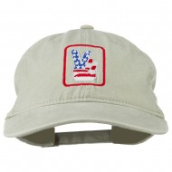 USA Peace Hand Embroidered Washed Cap - Stone