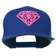 Pink Diamond Outline Embroidered Snapback Cap - Royal