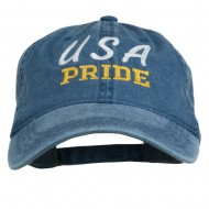 USA Pride Embroidered Washed Cap - Navy