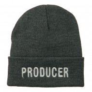 Producer Embroidered Long Beanie - Grey